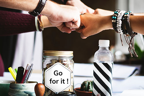 "jar with words ""go for it"""