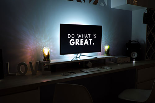 """Do what is great"" on TV screen"