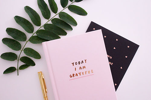 "Notebook with text ""Today I am grateful"""